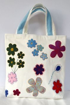 Spring Summer tote / Canvas white  appliqued with by Apopsis, $70.00 Brought to you by http://www.etsy.com/shop/UncommonRecycables