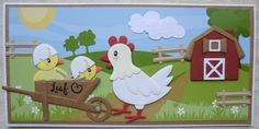 Hanny,s Kaarten Marianne Design Cards, Arte Country, Spellbinders Cards, Chickens And Roosters, Farm Party, Farm Theme, Die Cut Cards, General Crafts, Felt Fabric