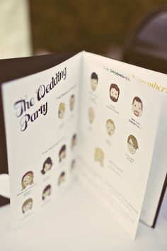 Wedding Program ~ I feel like this is a really good idea..that way everyone has an idea of who everybody is!