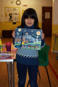Van Gough's A Starry Night art lesson. Love the colour tones this little artist has created. Unique and fab!!