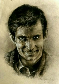 Anthony Perkins as Norman Bates. Toned paper, charcoal and graphite illustration by Christopher Nash.