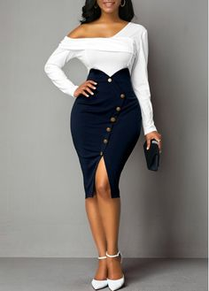 Cocktail Party Dress Front Slit Button Detail Back Zipper Sheath Dress Classy Dress, Classy Outfits, Chic Outfits, Fashion Outfits, African Fashion Dresses, African Dress, Look Fashion, Skirt Fashion, Black Dress Outfits