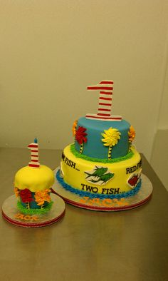 Dr. Suess One fish two fish theme cake with matching oversized smash cupcake by Little Sugar Bake Shop, via Flickr