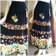 70115201539584 90 s Carole Little Fruit   Flowers Maxi Skirt