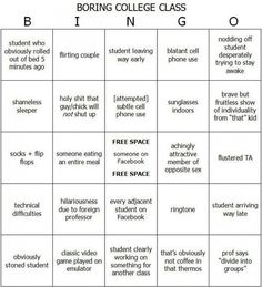 College class bingo...this would've come in handy