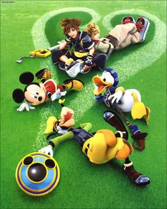 sora, roxas, mickey, goofy, and donald