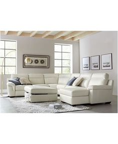 Furniture Julius II Leather Power Reclining Sectional Sofa Collection with Power Headrests and USB Power Outlet, Created for Macy's - Furniture - Macy's Leather Reclining Sectional, Sectional Sofa With Recliner, Living Room Sectional, Sleeper Sofas, Reclining Sectional With Chaise, Power Recliners, Sofa Furniture, Coaster Furniture, Living Room Sets