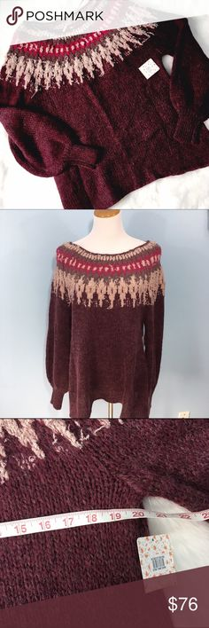 """NWT Free People Berry Fair Isle Sweater NWT, perfect condition! Scoop neckline, full sleeves taper slightly at wrists. Bust 20"""", Length 28"""", shown on a 6-8 dress form but but will still have an oversized fit on a true L! Free People Sweaters"""