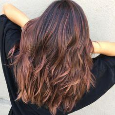 Dark Brown Hair With Rose Gold Balayage
