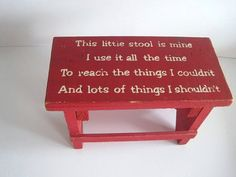 Vintage Child's Step Stool With Poem