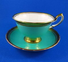 Elegant Aqua and Gold Trim Royal Chelsea Tea Cup and Saucer Set