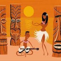 Hula and tiki and guitar. Tiki Art, Tiki Tiki, Theme Tattoo, Tiki Decor, Tiki Lounge, Hawaiian Art, Hawaiian Decor, Vintage Tiki, Polynesian Culture