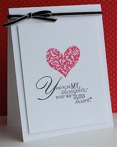 Stamps: I {heart} Hearts, Word Play  Ink: Real Red, Basic Black  Paper: Whisper White  Accessories: 1/8 taffeta ribbon