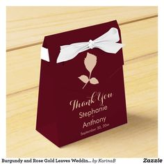 Burgundy and rose gold leaves wedding thank you favor box. The design features a burgundy background with rose gold leaves and rose gold text. Modern Wedding Theme, Gold Wedding Theme, Rose Wedding, Dream Wedding, Wedding Gift Wrapping, Wedding Favor Boxes, Fall Wedding Invitations, Wedding Stationery, Wedding Thank You