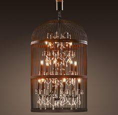 Vintage birdcage chandelier by Restoration Hardware