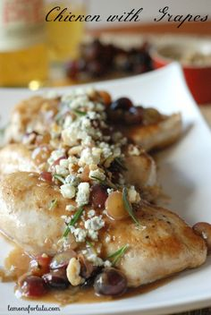 A simple chicken dish made with red grapes, tangy  blue cheese, toasted walnut all in a sweet wine sauce!