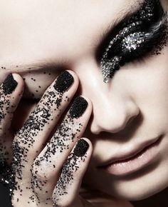 GLITTER BINGE #makeup #black #nails