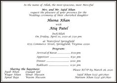 Muslim wedding invitation wordings has to be impressive for guests of wedding. Browse us to get large collection of Islamic wedding card wordings & templates for your Nikaah. Muslim Wedding Ceremony, Muslim Wedding Invitations, Wedding Invitation Wording, Wedding Card Wordings, Wedding Cards, Islamic, Weddings, Wedding Ecards, Wedding