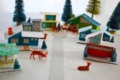 Mid-Century Modern Christmas Village, swoon.