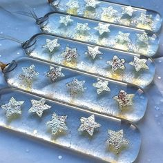 Christmas Decoration - Silver Christmas Stars Fused in Glass make like icecycle…