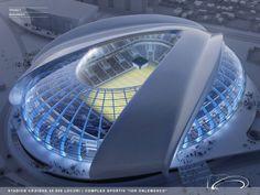 A new stadium, dedicated for football, has been designed by Proiect Bucuresti within the existing sports complex in Craiova, Romania. The new stadium will replace the existing Ion Oblemenco stadium on the site. The future stadium is designed Futuristic Architecture, Amazing Architecture, Architecture Design, Chinese Architecture, Architecture Diagrams, Organic Architecture, Futuristic Design, Architecture Portfolio, New Football Stadiums
