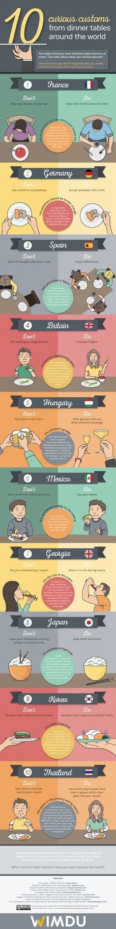 10 Curious Customs from Dinner Tables Around the world #infographic #Dinner #Food #Travel #Traditions