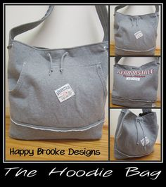 Hoodie Bag Sweatshirt Bag Tshirt Tote by HappyBrooke on Etsy, $45.00