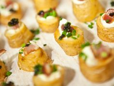 Kiffler potatoes with cream fraise, bacon, chives and caviar Cookes Food - Catering and Events - Portfolio