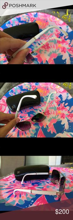 f88519f57159 Shop Women s White size OS Sunglasses at a discounted price at Poshmark.  Description  100 💯 authentic Chanel sunglasses with case .