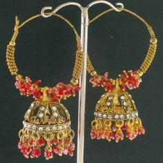 India Trend eBay | Cz Pink Beads Jhumki Hoop Earrings @ Indiatrend For $14.99USD