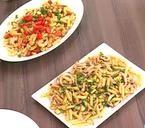 Πολύχρωμη σαλάτα με φασόλια και πατατοσαλάτα