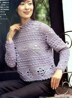 croșetat pulover liliachiu. - Moda Materiale tricotate + NEMODELNYH PENTRU LADIES - Țara Mamă