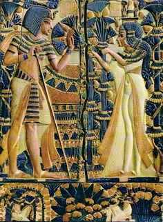 Tutankhamun and Ankhesenamun in a garden Painted ivory plaque from the lid of a coffer showing Tutankhamun and his wife Ankhesenamun in a garden. From the Tomb of Tutankhamun Now in the. Ancient Egypt Art, Old Egypt, Ancient Aliens, Ancient Artifacts, Ancient History, European History, Ancient Greece, American History, Ancient Egypt Fashion