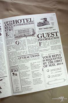 Hochzeitseinladungen können auch kreativ als Zeitung gestaltet werden. Dann ist…