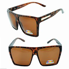 f488420088b XL Square Flat Top Havana Brown Polarized Oversized Square Fashion  Sunglasses  Square