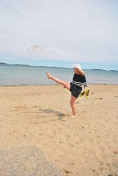 Life's a Beach | thoughtfulwish // kate spade // yellow heels // navy outfit // beach // beachwear