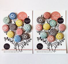 10 floral design hand printed fabric button by MelSmithDesigns, £10.00