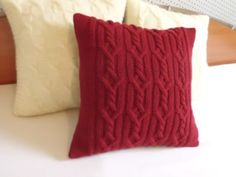 Red custom cable knit pillow case, burgundy knit pillow cover, hand knit pillow cover, decortive couch throw pillow, 16x16 pillow case