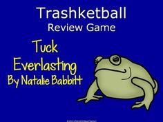 "Are your students tired of regular quizzes, but you need a way to assess their learning and reading?  If so, then you should engage them with this Trashketball Review Game:  Tuck Everlasting by Natalie Babbitt."" Throughout this power point presentation, teams of students recall characters, plot events, and literary devices in order to compete to shoot baskets into a trash can."