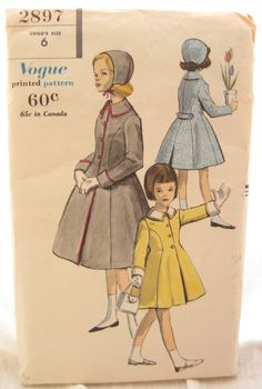 Vogue 2897 Rare 1950s Girls #Coat and #Hat #Pattern