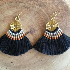 DIY Jewelry Accessories National Wind Restoring Ancient Ways of Color Cotton Winding Bead Skeined Pearl Earrings Eardrop Pendant - Custom Jewelry Ideas Diy Tassel Earrings, Tassel Earing, Fabric Earrings, Macrame Jewelry, Fabric Jewelry, Fringe Earrings, Diy Necklace, Beaded Earrings, Boho Jewelry