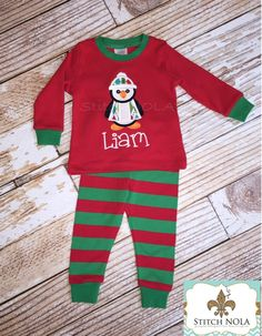 PRE-ORDER Christmas Pajamas with Penguin Applique - pinned by pin4etsy.com