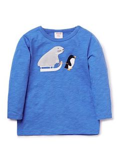 100% Cotton Slub long sleeve tee featuring walrus applique & penguin print. Snap fastenings on shoulder for easy dressing.