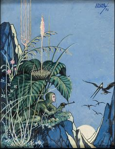 Science fiction painting (dated 1933) by Edgar Church (1888-1978).