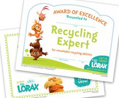 We are trying to teach the kiddos about recycling and the environment and this would be awesome for them! Something visual! Summer Camp Activities, Learning Activities, Activities For Kids, Elementary School Library, Elementary Schools, Dr Seuss, Printable Certificates, The Lorax, Green Theme