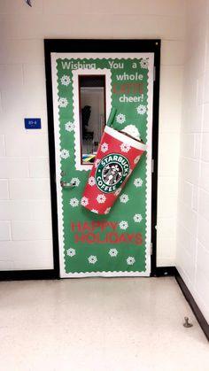 My Starbucks inspired classroom Christmas Door! - My Starbucks inspired classroom Christmas Door! My Starbucks inspired classroom Christmas Door! Christmas Door Decorating Contest, School Door Decorations, Office Christmas Decorations, Christmas Trees, Starbucks, Christmas Bulletin Boards, Diy Weihnachten, Wrapping Ideas, Holiday Crafts