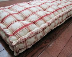 Custom Bench Cushion, Red Plaid Window Seat Cushion, French Mattress Quilted Cushion, Red and Ivory Tufted Cushions, Custom Sized Cushion. - Connie Davis - Beyond Binary Porch Swing Cushions, Window Seat Cushions, Bench Cushions, Playroom Flooring, Loft Flooring, Red Throw Pillows, Floor Pillows, Daybed Mattress, Floor Pouf