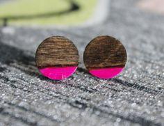 Dark Wood & Hot Pink Stud Earrings | Hand Painted and Wood Burned Earrings | Round Wooden Earring Studs by PeabodiesGlasshouse