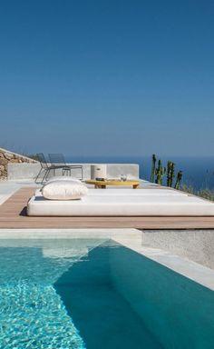A Summer Retreat's Love Affair with the Big Blue in Santorini Villa Design, Park Homes, Santorini, Swimming Pools, Pergola, Beach Houses, Architecture, Outdoor Decor, Entertainment