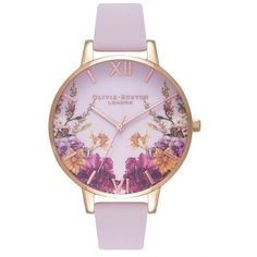 Women's Olivia Burton Enchanted Garden Leather Strap Watch, 38Mm ($125) ❤ liked on Polyvore featuring jewelry, watches, olivia burton, olivia burton watches, roman numeral watches, olivia burton jewellery and roman numeral wrist watch